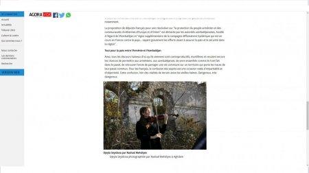 """Fransanın """"Agoravox"""" portalında """"Azərbaycan və Ermənistan üçün sülh"""" adlı məqalə dərc olunub"""