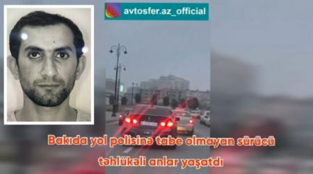 """Bakıda yol polisindən qaçan """"BMW"""" sürücüsü təhlükə saçdı"""