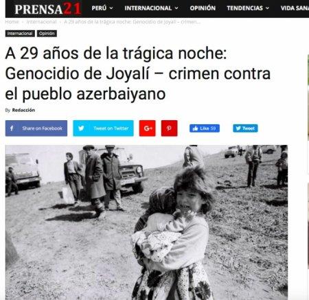 Xocalı soyqırımı Peru mətbuatında geniş işıqlandırılıb