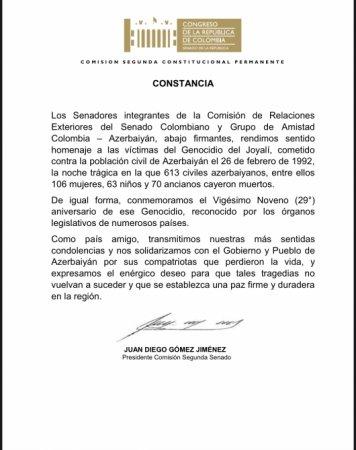 Kolumbiya Senatı Xocalı soyqırımının 29-cu ildönümü ilə əlaqədar bəyanat qəbul edib