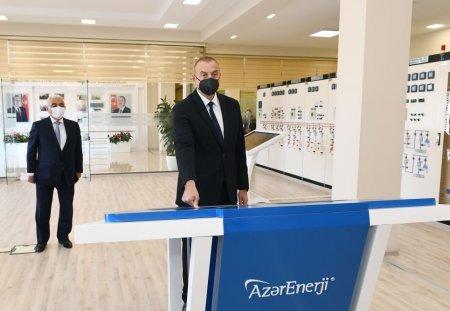 """Prezident İlham Əliyev 110/35/6 kilovoltuq """"Binəqədi"""" yarımstansiyasının açılışını edib"""