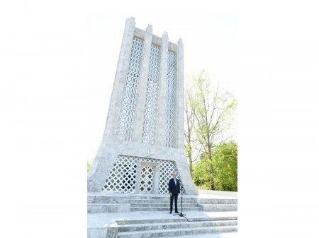 Prezident İlham Əliyev: Ulu Öndərin iradəsi və qətiyyəti nəticəsində Vaqifin məqbərəsi ucaldılmışdır